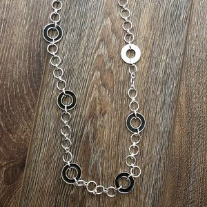 """Chaps necklace 18"""" silver and black"""